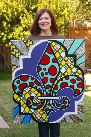 Holding a sold commissioned painting, Florentine Fleur de Lis