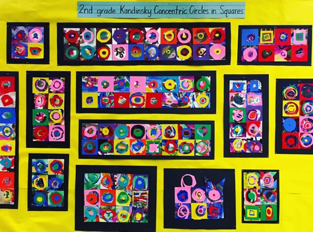 2nd Grade Kandinsky Concentric Circles Collage Wow Art Project