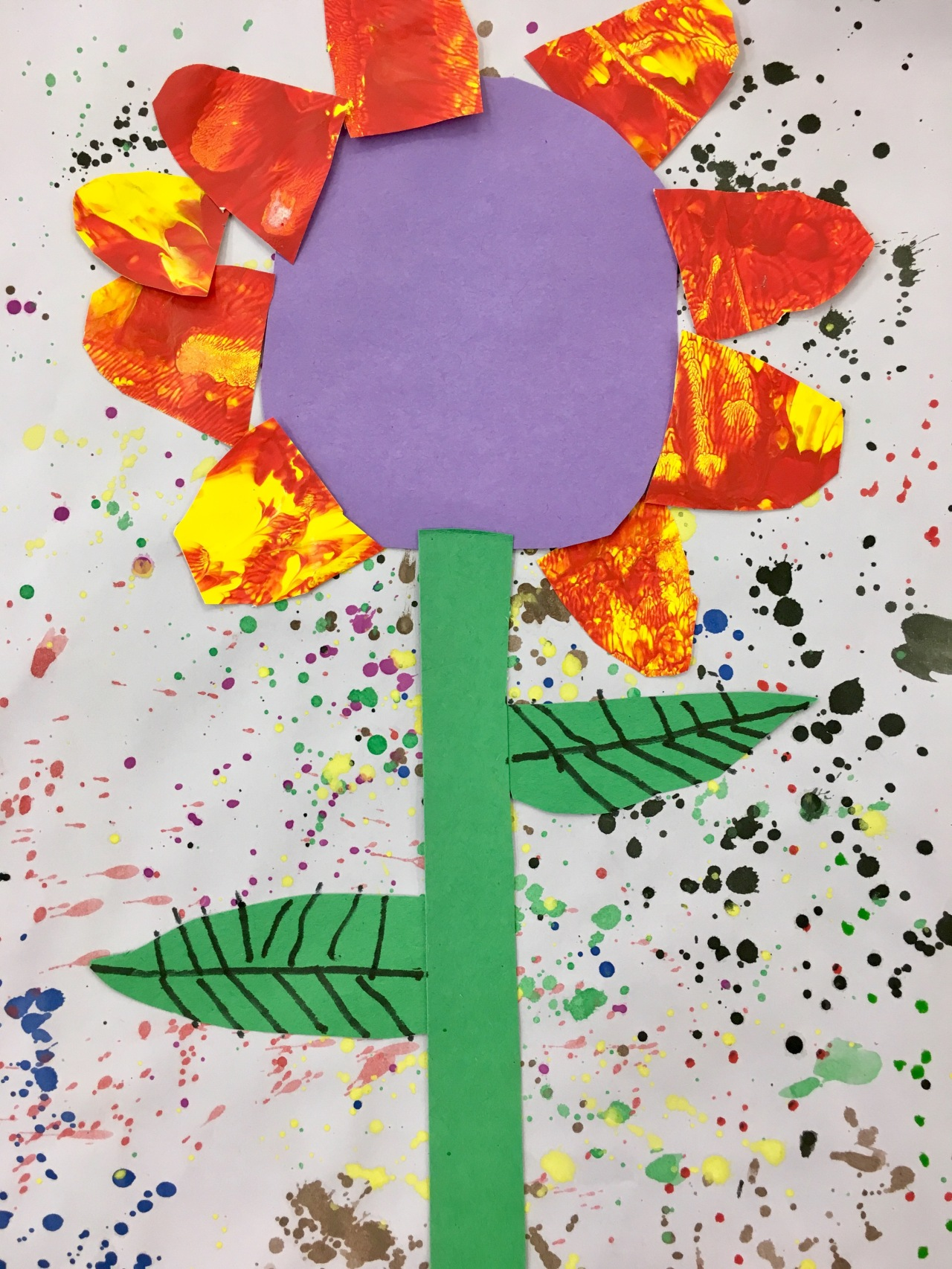 Kindergarten Eric Carle Inspired Painted Paper Flower On A Splatter
